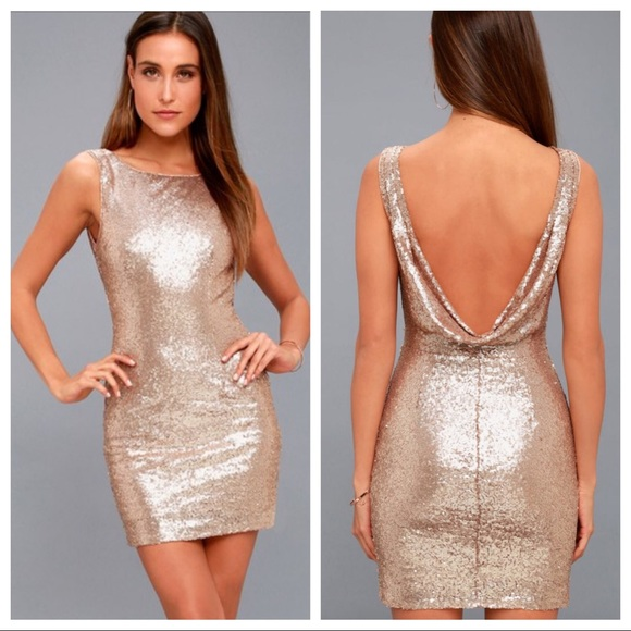 03fb05c85a Lulus Shine Time Rose Gold Sexy Sequin Dress
